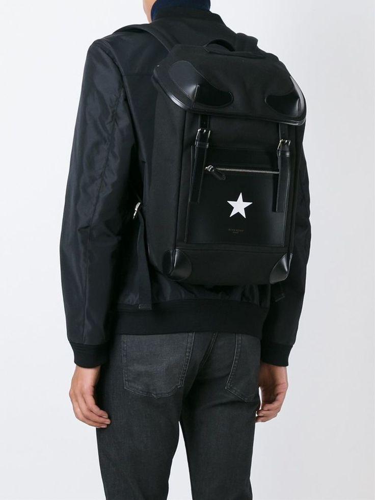 GIVENCHY RIDER STAR  BLACK  LEATHER & CANVAS BACKPACK  BJ05004-568-001 #GIVENCHYRIDERSTAR #Backpack