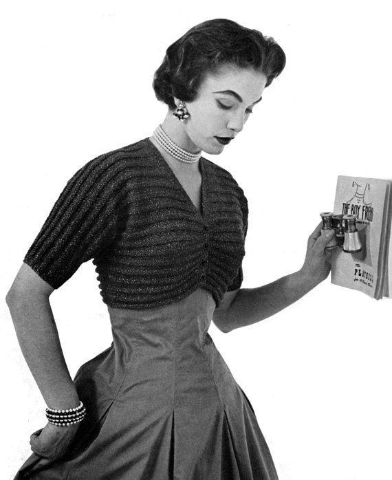 Vintage Knitted Bolero / Shrug Pattern 1950s von nostalgiarules, $2.99