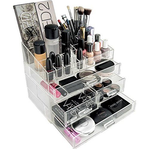 Posh Ultimate Acrylic Makeup Organizer, 7 Tier, 6 Large Drawers, Flip Top Tray w/ Removable Dividers, Premium Clear Cube Box Case for Cosmetic & Beauty Storage