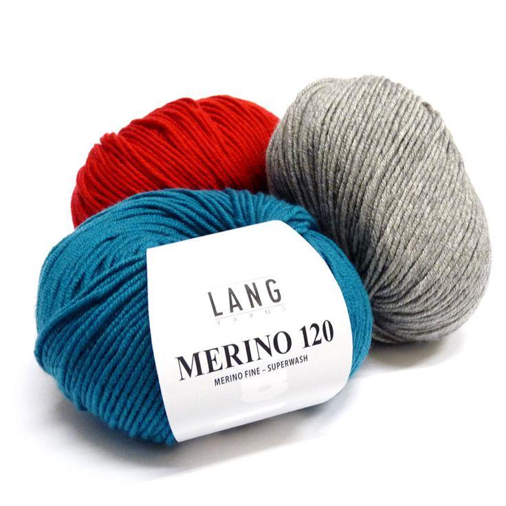 Garen. 100% Wol.  LANG Yarns Merino 120. Ongeveer 40% van het totale volume van deze wol is afkomstig van Merino schapen, en in de allerbeste kwaliteit . De vezels zijn prima en zeer gekrompen, waardoor ze zeer zacht aanvoelen en ook elastisch en vormvast blijven.  Vervaardigd van eersteklas ruwe wol met de volledige know-how en jarenlange ervaring van LANGYarns. Fantastisch garen voor alle hoogwaardige gebreide kleding.  merino_120.jpg