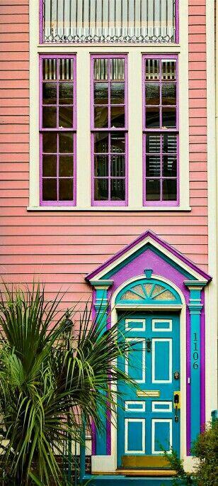 Colorful front door in Savannah, Georgia.