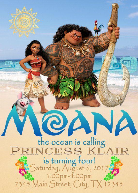 Moana Theme Birthday Invitation
