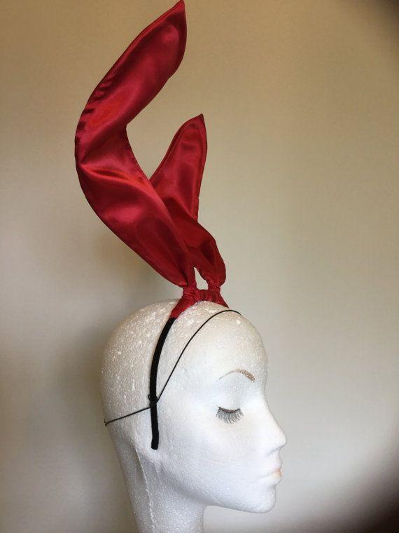 Bunny ears headband - Black bunny ears.  Tall bunny ears headband, made from crisp shiny taffeta fabric. Great for photo-shoots. Made to order, allow