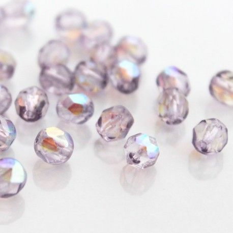 A pack of 50 beautiful, fire polished, 6mm faceted Czech glass beads.