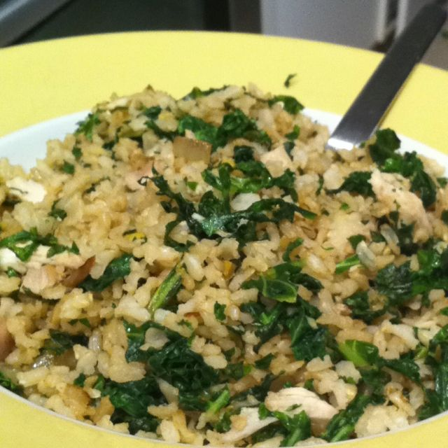 Day 2-stir fried brown rice. Sautéed onions, garlic, ginger, add finely chopped…