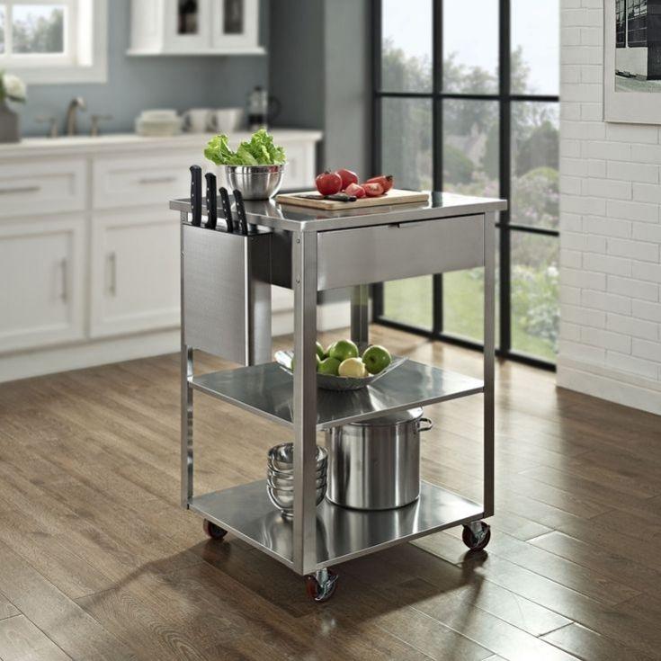 Simple Stainless Steel Kitchen Island On Wheels Kitchen Island