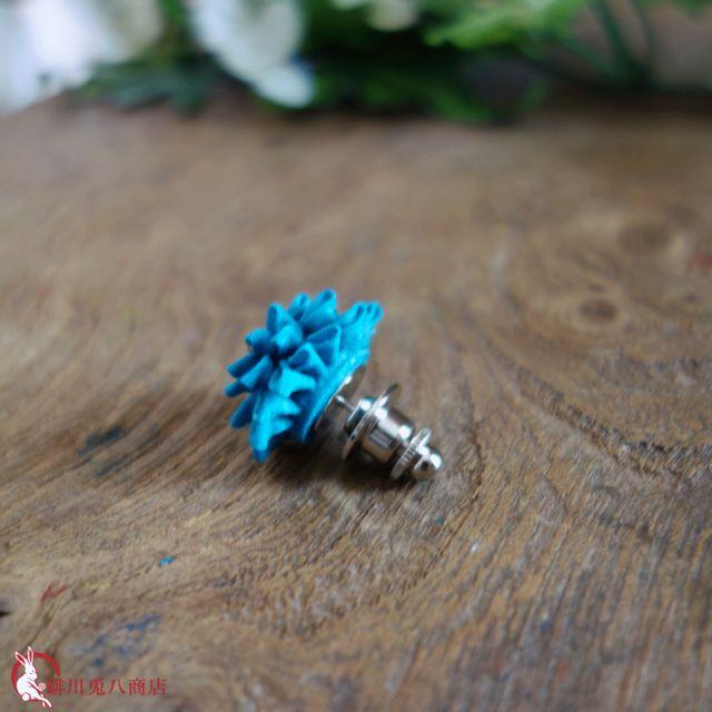 つまみ細工ラペルピン|「灯花」ターコイズ