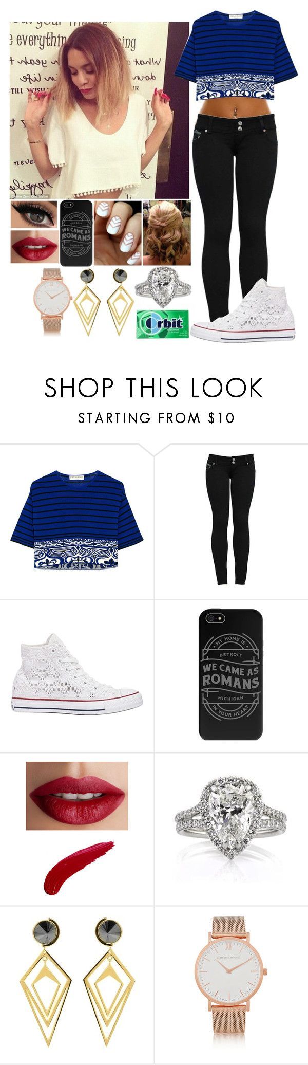 """""""OOTD -Jane"""" by loving-you-was-wrong ❤ liked on Polyvore featuring Emilio Pucci, Converse, TheBalm, Sarah Magid and Larsson & Jennings"""