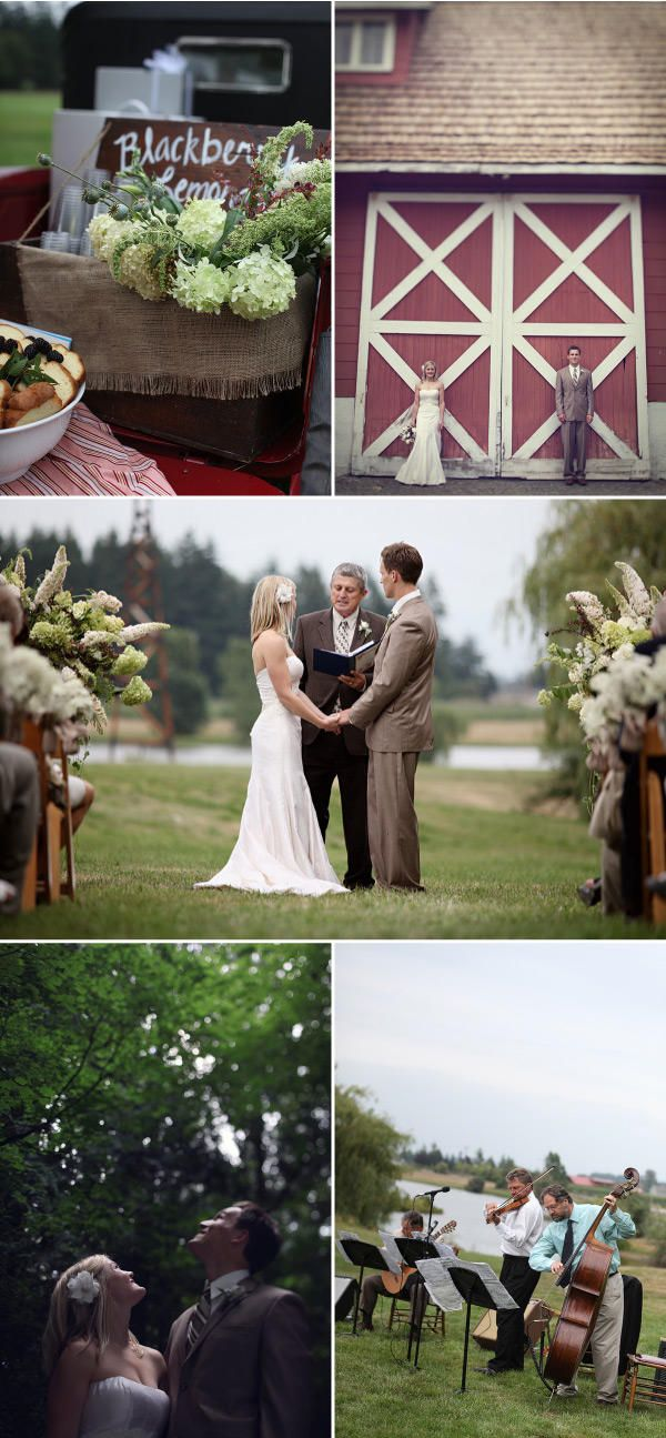 A wedding outside uses nature as your venue and you have so much to chose from. This is perfect. Love the barn pic.
