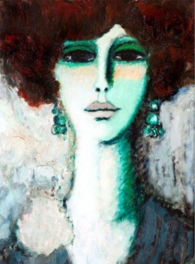 Jean-Pierre Cassigneul - Femme de Face, 1963: De Faces, Artists, Jeanpierr Cassigneul, Art Jeans Pierre Cassigneul, Woman, Soufer Galleries, French Beauty, 1963 Soufer, Painting
