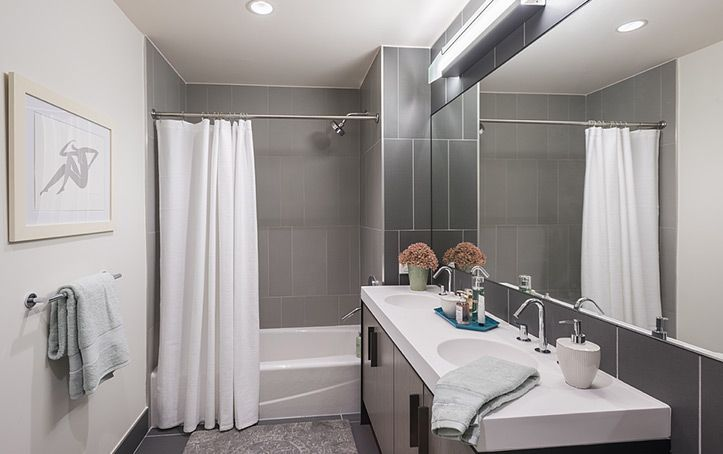 Luxury Downtown Brooklyn Apartments for Rent   The Ashland    TILE PATTERN MIMICS THE EXTERIOR SIDING WE WILL HAVE