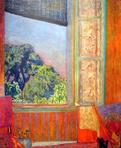 """peinture française : Pierre Bonnard, """"fenêtre ouverte"""", 1921, orange"""