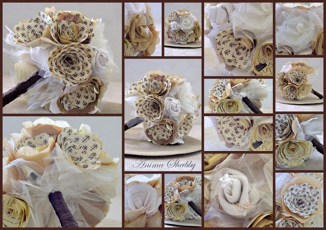 Bouquet di fiori di carta e tessuto N. 3