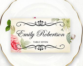 Printable Place Card Wedding Vintage Floral Instant Download DIY EDITABLE PlaceCard Template, Escort Cards, Tent Cards, Name Tags