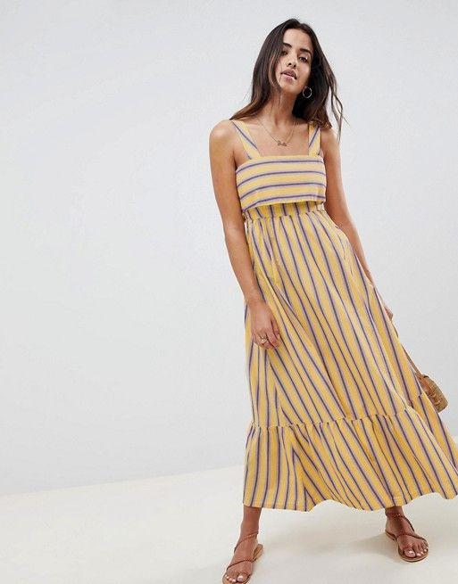 69a4e27782e955 DESIGN Stripe Maxi Dress With Pephem