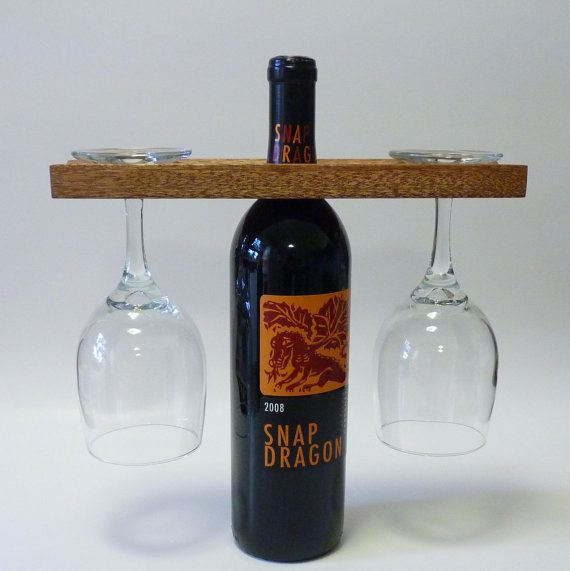 Reclaimed  Wood Eco Friendly Bottle and Glass Caddy In Mahogany