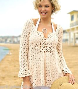 Knit Beach Cover Up Pattern : Knitting & Crochet Pattern ~ PRETTY LACY TUNIC ~ Ladies Beach Cover-Up ...