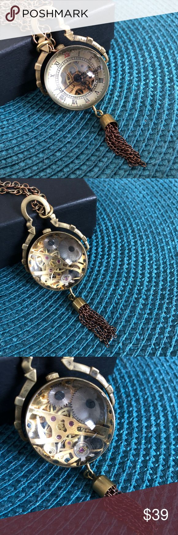 Clock Necklace Exposed Gears Watch Steampunk Brass Rustic vintage appeal with this feminine alternative to a pocket watch. Clock winds up to reveal the inner workings of the gears. Beautiful and fascinating, a lovely conversation piece. Jewelry Necklaces