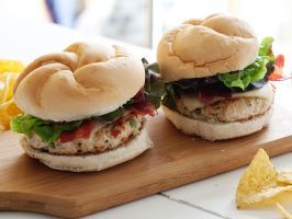 Southwest Turkey Burgers : Rachael combines lean turkey with lots of vegetables, so this burger stays moist. Cilantro, peppers and spice add some great Southwestern flavors.