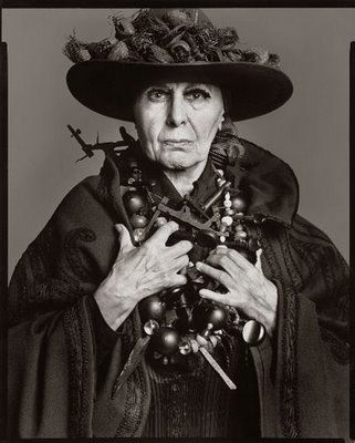 artist Louise Nevelson. Captured here by Richard Avedon in 1975, her accessories reflect her monochromatic wooden structures.