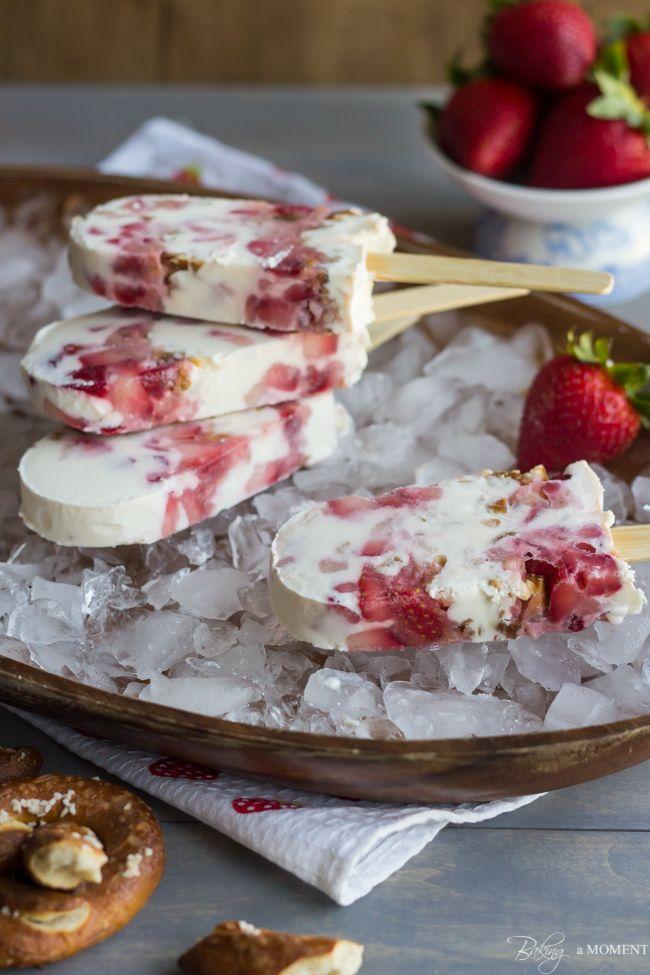 Strawberry Pretzel Popsicles made with Greek Yogurt