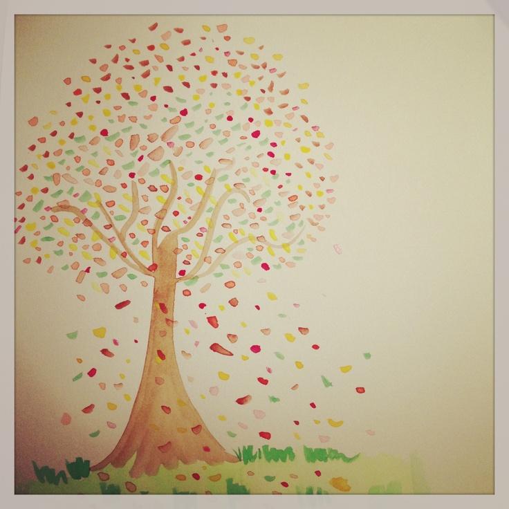 otoño - herbst - autumn - automne  Ilustración en acuarela.