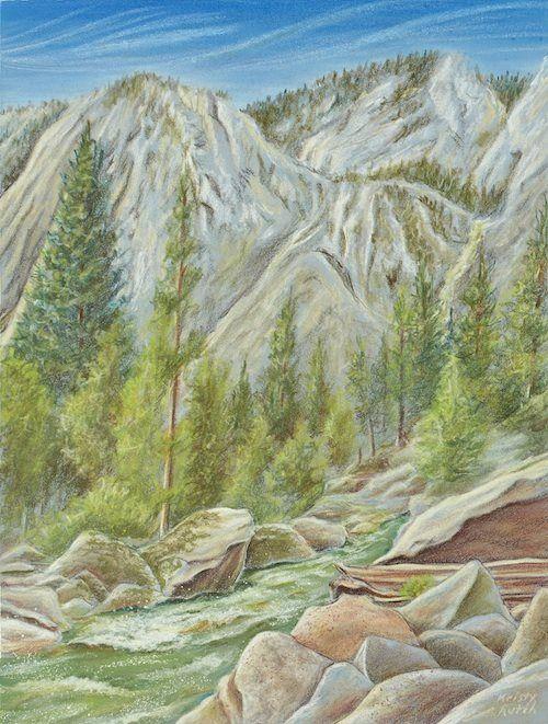Colored pencil landscape by Kristy Kutch.