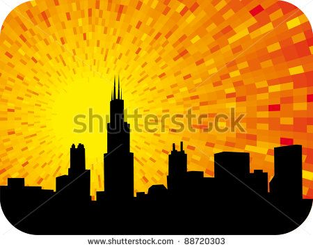 Chicago city orange shine sunset background with black silhouette of city