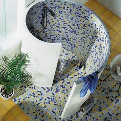 Spiral Walk In Shower Enclosures With Clever Tiling