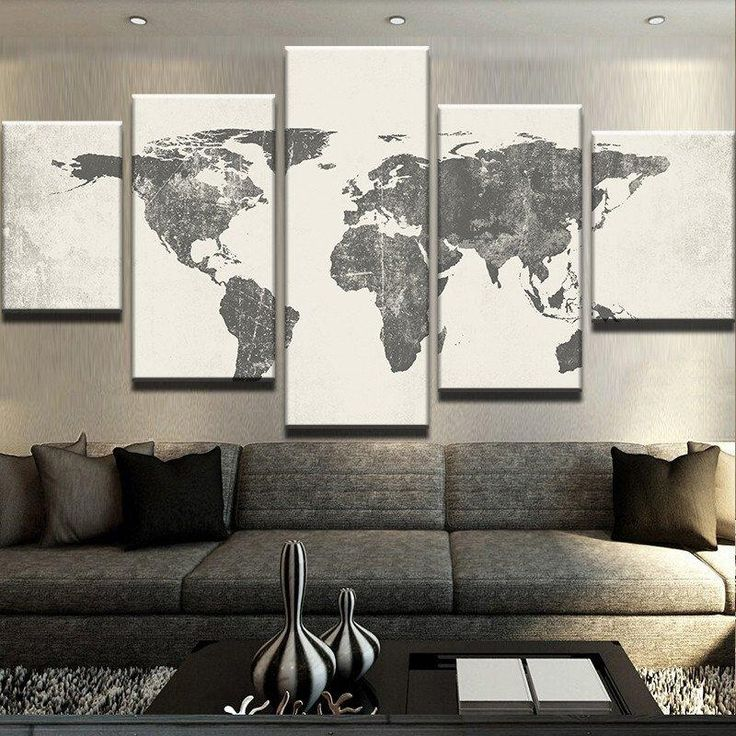 The family decorates print on canvas wall art 5 panel map