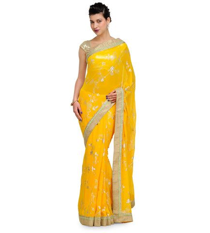 Yellow Georgette Foil Printed Saree | Fabroop