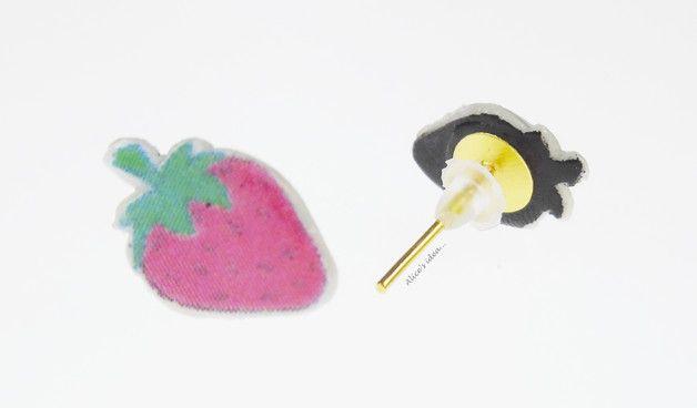 """Earrings ,,Strawberry""""... www.alicesidea.pl #earrings ."""
