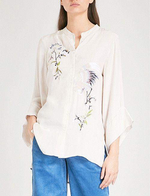 73293349cb67e6 FINERY LONDON Newling embroidered crepe shirt
