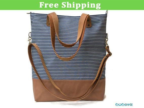 Nautical striped Handbag Handcrafted Shoulder Bag by buboxa