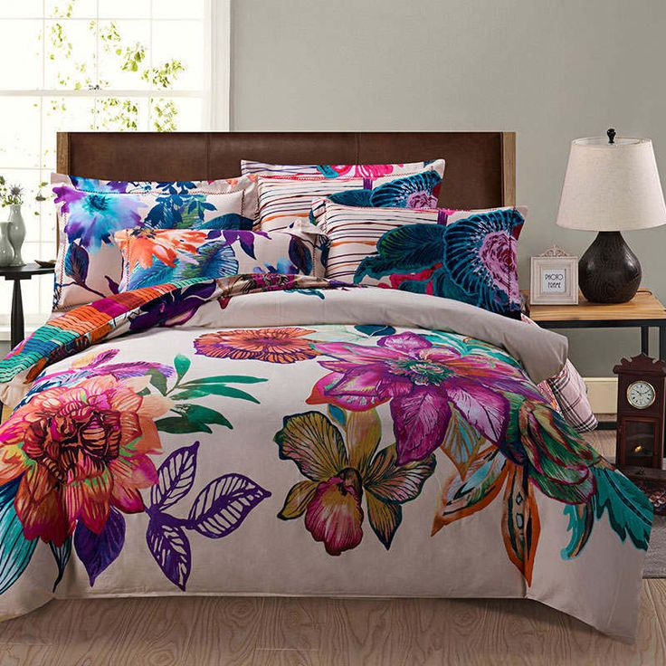 bright purple blue colored painting flower print bedding