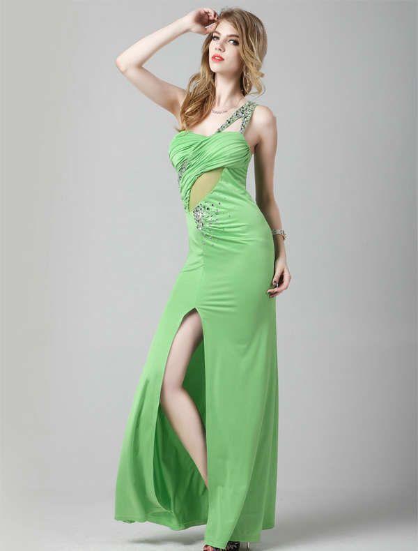 Корсет одно плечо передний раздельная Бисероплетение шифон Зеленые Пром платья