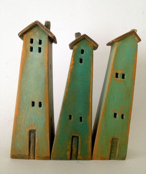 set of 3 ceramic houses , made in high fired stoneware clay, painted with acrylic colors on Etsy, $70.00