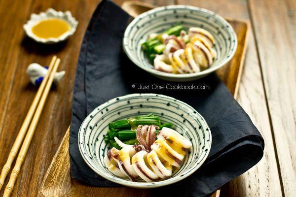 Boiled Squid with Miso Vinaigrette イカの酢味噌和え | Easy Japanese Recipes at JustOneCookbook.com