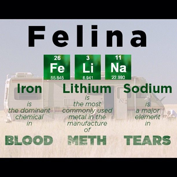 "#BreakingBad - meaning of the final episode title. ""Felina"" = Blood, Meth, Tears.  Interesting tidbit: It is also a reference to the song playing in the car he drove called ""El Paso"" by Marty Robbins. Hats off to those writers- best show ever!!"