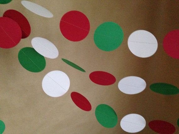 Red, White and Green Paper Garland Christmas Party Decor, Baby Shower, Photo Prop, Christmas Tree and Holiday Decor, Classroom Decor, Etc on Etsy, $8.25