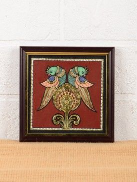 Double Peacock Tanjore Painting 7in x 7in x 0.5in