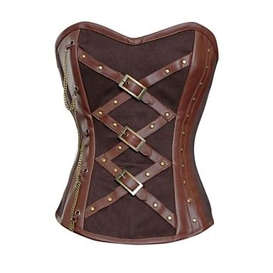 Women's Leather Steam Overbust Corset – USD $ 22.74