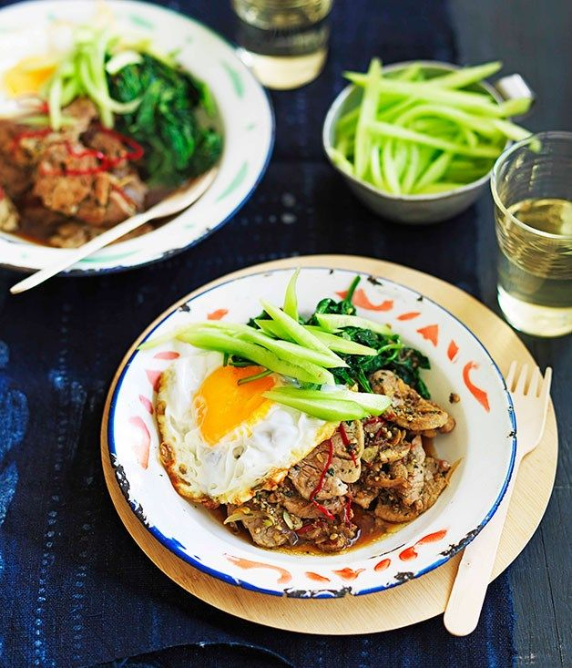 Thai-style fried garlic pork and greens - Gourmet Traveller