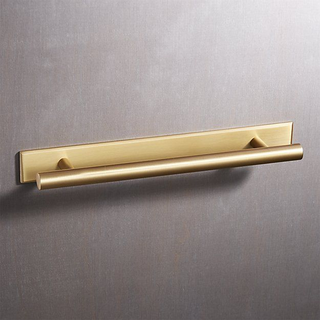 6 Round Brushed Brass Handle With Backplate Cb2 Brass Handles Copper Handles Brushed Brass
