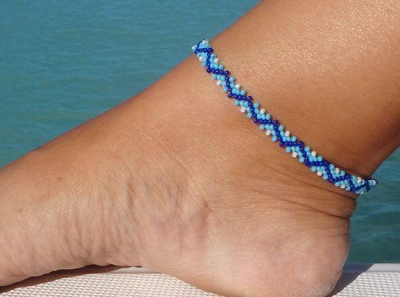 Beaded Anklet, ankle bracelet, Zig Zag Ankle Bracelet, Blue Seed Bead Anklet, Beach Anklet
