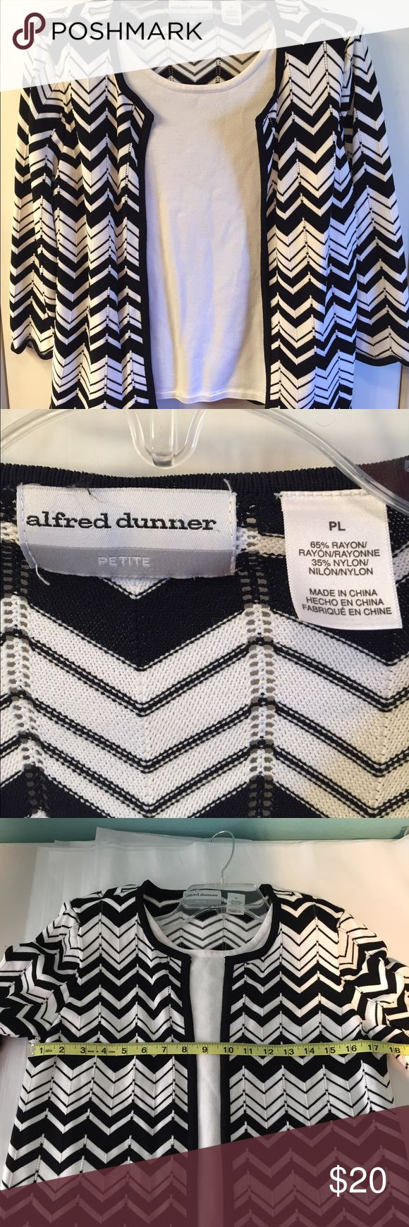 Alfred Dunner Spring Sweater Petite Large Pretty Alfred Dunner Sweater. This looks like a 2 piece set but the white under sweater is sewn in. Like New, NO stains, rips, tears, fading, snags or pilling. Size Petite Large. Please see pictures for measurements. Thank you for your interest. Alfred Dunner Sweaters