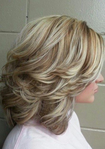 light hair style high and low lights medium with layers and curls hair 3635