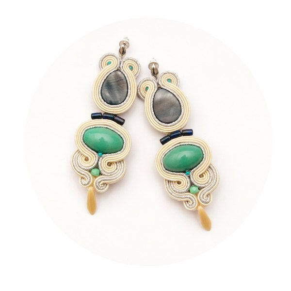 Statement earrings mint and beige bead embroidery with soutache. Large festival earrings fashion. (160.00 PLN) by MANJApl
