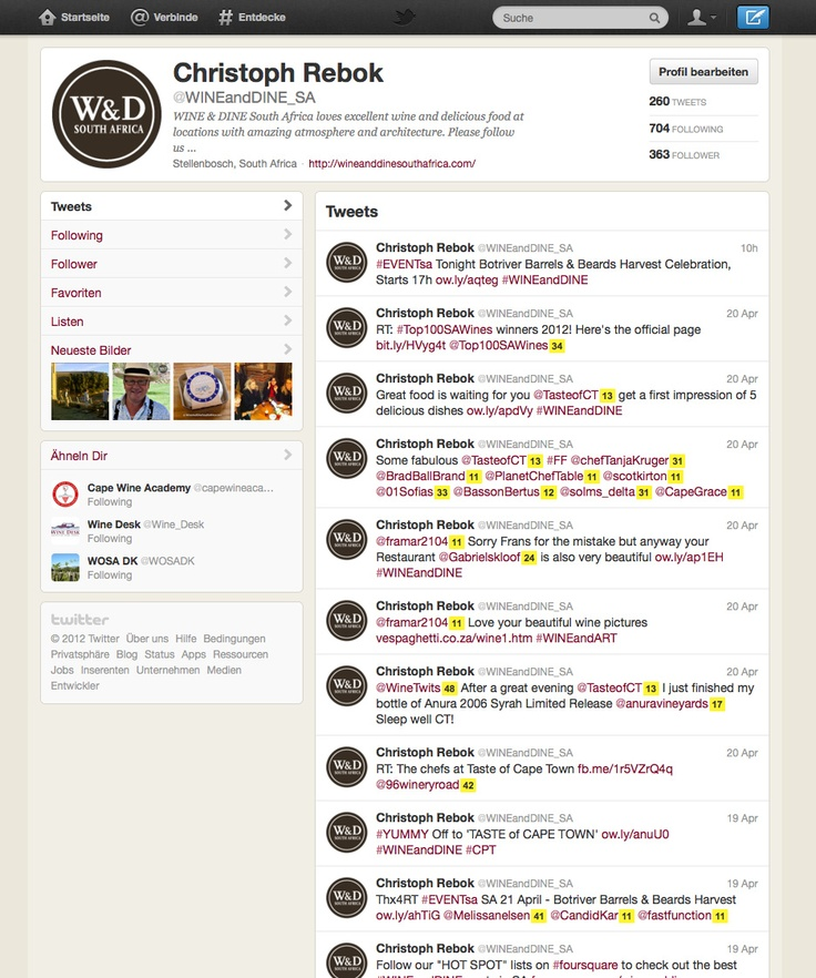 WINE & DINE South Africa on Twitter