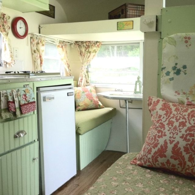 Vintage camper. Love the green, maybe a little too floral for James, but I LOVE it! Could be a starting off point?